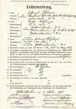 Lehrvertrag von 1935